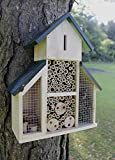 garden mile Wooden Insect Hotel Natural Wood Insect House Garden Shelter Nesting Habitat For Bees Butterflies Ladybugs Bug Insect Eco Friendly Outdoor (Large House with Green Roof)