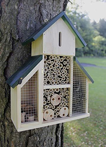 garden mile Insektenhotel aus Holz Naturholz Insektenhaus Garten Unterschlupf Nistplatz für Bienen Schmetterlinge Marienkäfer Insekten Umweltfreundlich Outdoor (Großes Haus mit grünem Dach)