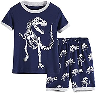 Image of 100% Cotton Glow in the Dark Dinosaur Pajama Shorts Sets for Boys and Toddler Boys - See More PJ Sets