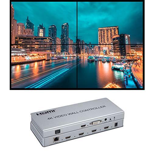 Videowand Controller 2x2 4K Prozessor HDMI 1.4 HDCP 1.4 unterstützt 2x2,1x2,1x4 mit 1 DVI oder HDMI Eingang 4 HDMI Ausgang