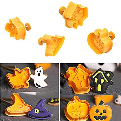 4 Tagliabiscotti Halloween,Formine Biscotti Halloween,stampi per biscotti di Halloween,Stampini per biscotti con eiettore per Cottura dei biscotti di Halloween,Decorazione Della Torta di Halloween