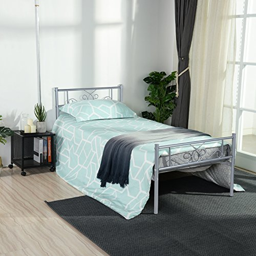 SimLife Stable Frame Size 6 Legs Two Headboards Mattress Foundation Steel Platform Bed Box Spring Replacement (Twin, Silver),