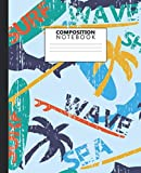 Composition Notebook: Cool Surf Time Wide Ruled Paper Notebook and Journal - Awesome Sharks & Waves Blank Wide Lined Diary for Writing, Notes and Brilliant Ideas