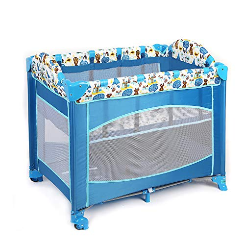 Easy Folding Portable Baby Playard Playpen, Blue, Comfortable Lightweight Foldable Travel Crib with Comfortable Mattress and Breathable Mesh Fabric, Beside Sleeper for Newborn Baby