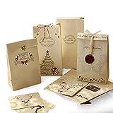 Sinoest Adventskalender zum Befüllen - 24 Kraftpapiertüten Braun mit Boden + Adventskalender...