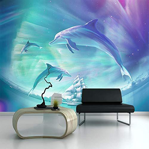 NIdezuiai Aanpassen 4D behang wanddecoratie Moderne abstracte oceaan dolfijn achtergrond wandversiering voor de kinderkamer woonkamer tv-achtergrond modern behang 104in×168in 260cm(H)×420cm(W) zoals getoond