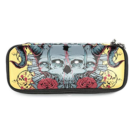 Retro Doodel Rose with Skull Pencil Case Leather Pen Bag Durable School Student Pen Holder Organizer Stationary Pouch for Teen Girls Boys