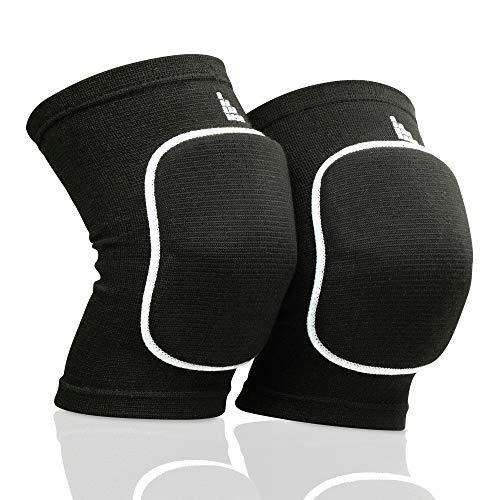 LAUTER SCHUTZ ® Premium Knieschoner aus atmungsaktivem Gewebe mit Kniescheibenpolster für Volleyball, Handball, Tanzen, Mountainbiking & mehr (Schwarz, S)