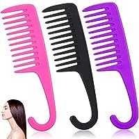 DANYU 3本の広い歯の櫛のシャワーの櫛、シャワーの櫛のもつれを解く、家庭の美容院で使用されるフックの広い歯の結び目のない櫛、長い髪、巻き毛