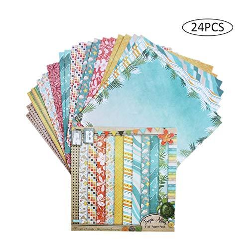 Papel Estampado Patrón 24 Hojas De Paper Decorativas Pack Scrapbooking Estampado Flores Románticas Vintage Para DIY Paper Decorativa Manualidades - Papel De Patrón De Una Cara - Haodene