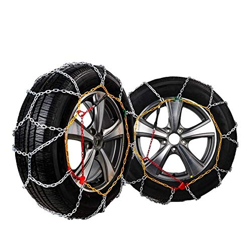 AWJ Cadenas de Nieve de 2 Piezas, Cadena de tracción de neumáticos Cadenas de Nieve de Invierno para neumáticos de Ruedas de Coche, Accesorios de Coche de Cadena antides