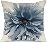 Throw Pillow Cover Funda de cojín, Color Desigual Paisaje Azul Belleza Flor Dahlia en revistas Blanco Naturaleza Objetos para el hogar Impresión para Funda de Almohada