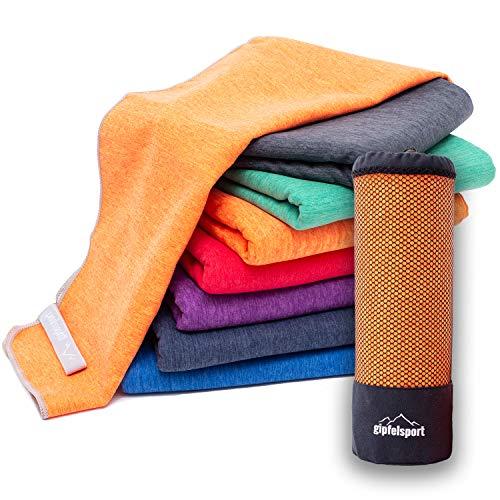 Mikrofaser Handtuch Set 'Brush' - Microfaser Handtücher mit Tasche für Sauna, Fitness, Sport I 1x XXL(200x90cm) | Orange