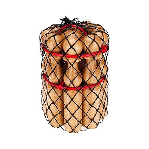 GICO Kegelspiel Kegel Set Bowling aus Holz für Kinder und Erwachsene – Der In- & Outdoor Spielspaß mit Qualitätsware aus Massivholz -Made in EU-Höhe 24 cm–3018