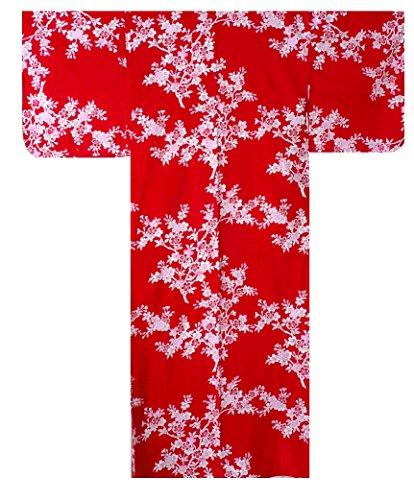 Yukata tradicional y auténtica japonesa para mujer, diseño de flores de cerezo, color rojo, 100% algodón, fabricado en Kioto Japón