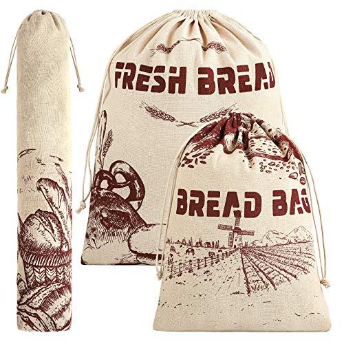 Ruisita 3 Pieces Linen Bread Bags 3 Size Bread Storage Bag Reusable Drawstring Home Food Storage Bag for Bread Dessert