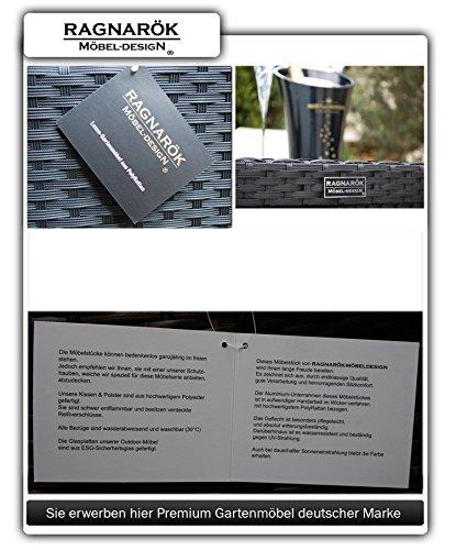 Ragnarök-Möbeldesign PolyRattan Essgruppe - DEUTSCHE Marke - EIGNENE Produktion - 8 Jahre GARANTIE - 6 Stuhl 4 Hocker Garten Möbel Glas Polster schwarz Gartenmöbel Dinning Aluminium Rostfrei - 7