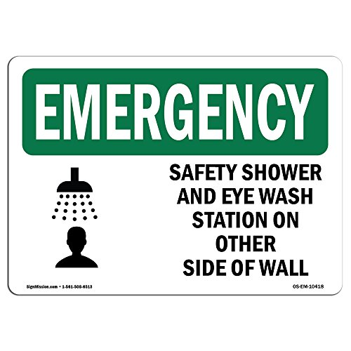 OSHA Emergency Sign - Safety Shower and Eye Wash Station with Symbol | Aluminum Sign | Protect Your Business, Work Site, Warehouse | Made in The USA