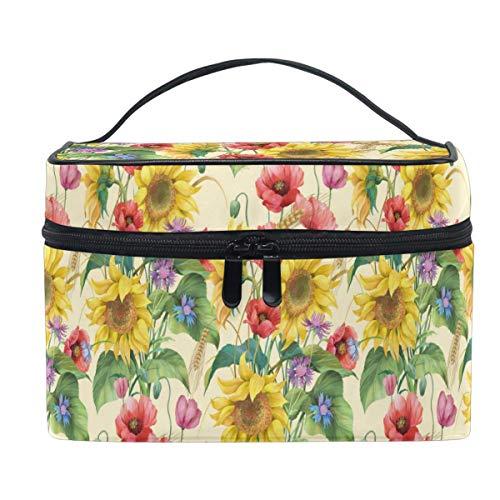 Vintage 3D Stylish Beautiful Trocial Sunflower Print Makeup Bag Handbag Bag Cosmetic Bag Toiletry Travel Brush Train Case for Women Zip Carrying Portable Multifunctional Organizer Storage Pouch Bags