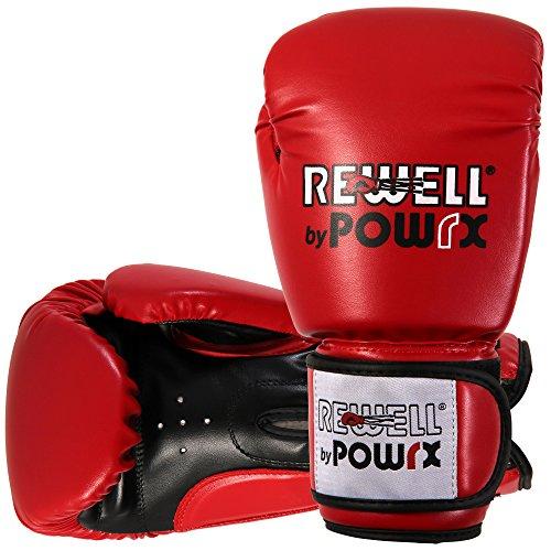 Rewell by Powrx Profi PU - Guantes de boxeo de entrenamiento, cuero