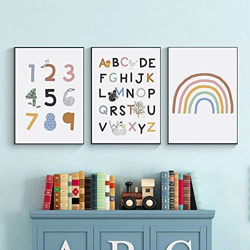 3 Laminas Alfabeto Poster Arcoiris Numeros Cuadros Nordicos Infantiles Niño Habitacion Lienzos Decorativos 30x40 sin Marco