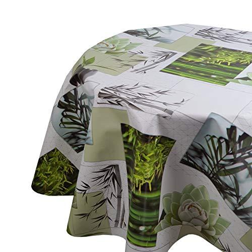 DecoHomeTextil Wachstuchtischdecke Wachstuch Tischdecke Gartentischdecke Rund Oval Bambou Zen Oval 130 x 160 cm abwaschbare Wachstischdecke