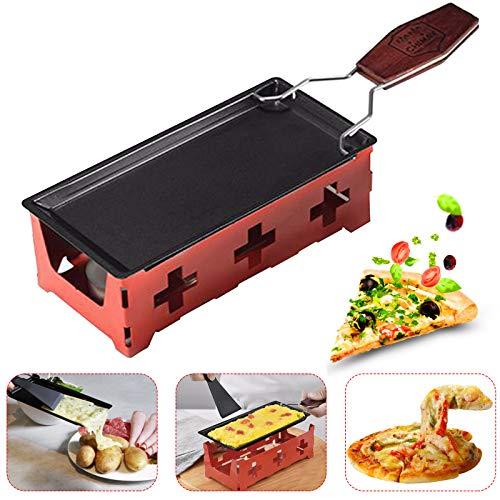 Mini Raclette Tragbar Cheese Barbeclette Antihaft Rotaster Backblech Herd Set Grill Cheeseboard,Beschichteter Grillplatte Kohlenstoffstahl Home Kitchen Grill Werkzeug mit Holzgriff (Rot)