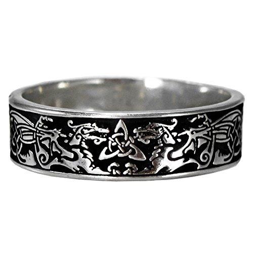 Pepi Narrow Celtic Knot Dragon Ring Triquetra Ring Band for Men or Women (sz 5-14) sz 12
