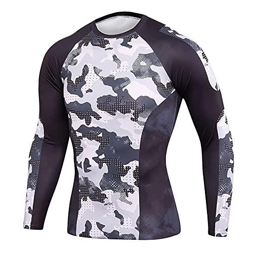 Camiseta para hombre con absorción de humedad, secado rápido, para correr, de manga larga, deportiva. gris_1 XXL