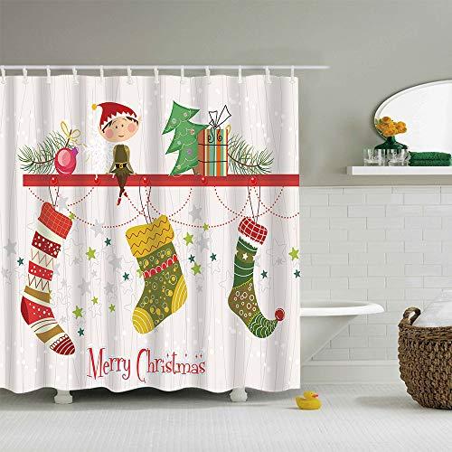 GoJeek Elf Christmas Shower Curtain, Xmas Gift Socks with Cute Elf Bathroom Decor