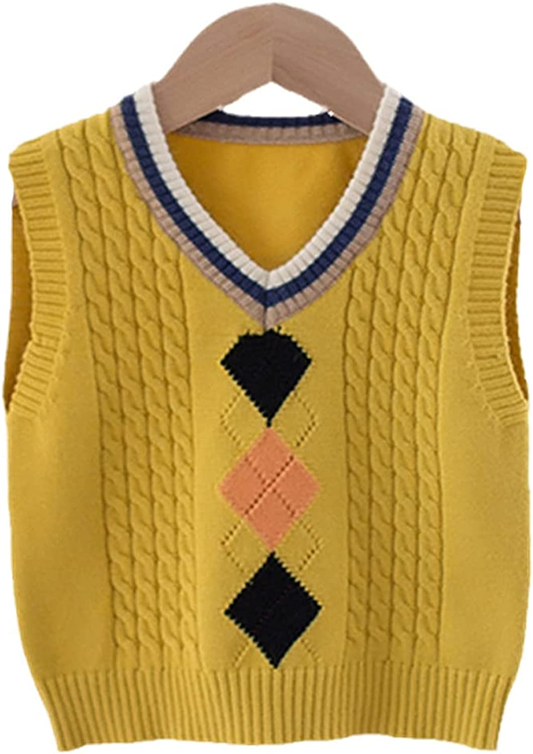 Yiqinyuan Children's Baby Vest Boys and Girls Autumn Clothes Children Korean Knitted Sweater Vest