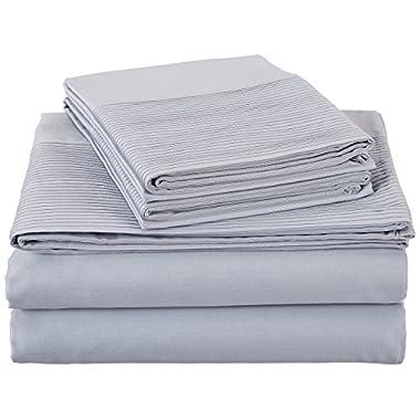 Pinzon 400-Thread-Count Egyptian Cotton Sateen Pleated Hem Sheet Set - Full, Dusty Blue