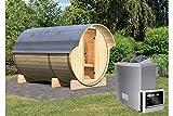 Karibu Fass - Sauna 3 42 mm inkl. 9-kW-Ofen - Saunahaus