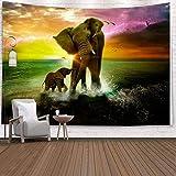 KHKJ Colgante de Pared Elefante Boho Mandala brujería Tela de Pared Arte psicodélico Hippie Tapiz Alfombra de Pared A3 95x73cm