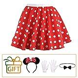 Hook Rock Punkte Rot Weiß, Tellerrock Kostüm Rockabilly 50er Jahre Gepunkteter Rock, Rock-n Roll Karneval Kostüm für Damen, mit Maus Ohren, Schleife und Weiße Handschuhe (S)