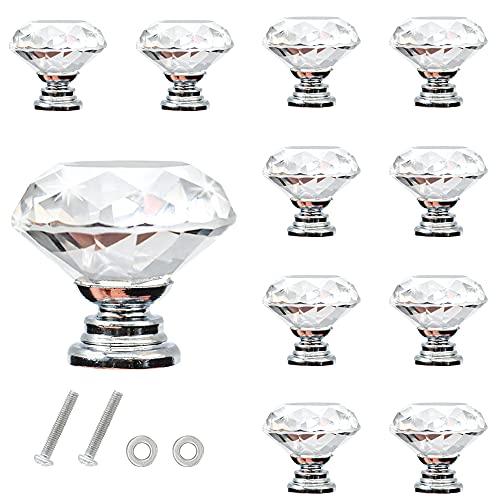 Pomelli di Cassetto 30mm,CCUCKY 10 Pezzi Manopole di Cristallo,Design di Diamanti e Trasparente,Ideale per Cassetto,Cuboard,Armadio e Mobilia,Decorazione Unica