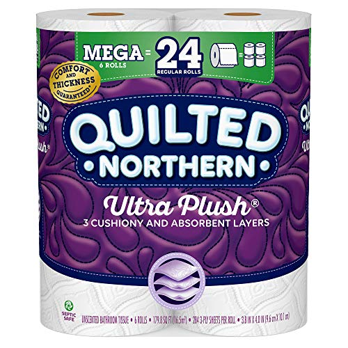 Quilted Northern Ultra Plush® Toilet Paper, 6 Mega Rolls, 6 = 24 Regular Rolls, 3 Ply Bath Tissue