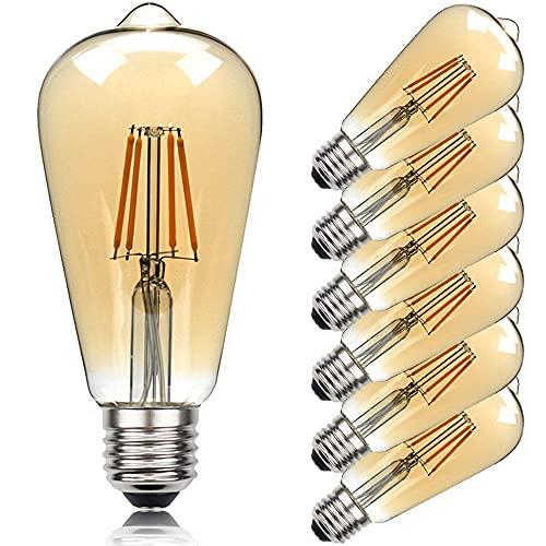 KCBYSS Juego de 6 bombillas LED St64, 220 V, 110 V, lámpara decorativa retro, 8 W