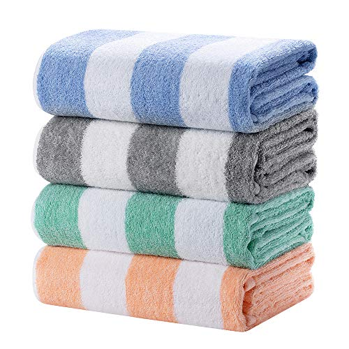 HENBAY Fluffy Large Beach Towel - 4 Pack Plush 30 x 60 Inch Cotton Pool Towel, Oversized Mixture Striped Swimming Cabana Towel