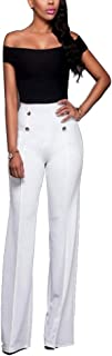 Sherro Women's Stretchy High Waisted Wide Leg Button-Down Pants Sailor Bell Flare Pants