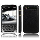 Handy Kasten für BlackBerry Classic Q20 PU Leder Krokodil Haut Hülle Back Hülle Cover (Schwarz)