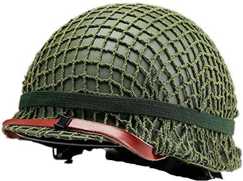 World War II American M1 Steel Helmet ,World War Military Equipment Replica Helmet with Mesh Shield