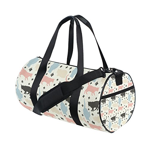 TIZORAX Colorful Katzen Pfoten Footprint Fitnessraum Duffle Bag Drum Tote Reisetasche Rooftop Rack Tasche
