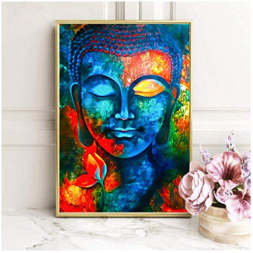 HYFBH Modern Buddhist Posters and Prints Wall Art Canvas Painting Wall Decoration Lord Buddha Pictures for Living Room Home Decoration 50x70cm No Frame