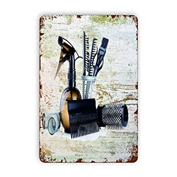CIKYOWAY Metal Signs Vintage Barber Shop Hair Salon Tools Set Great Gift Hair Stylists Picture,Tin Sign Wall Iron Painting Wall Decor Art Retro Plaques Poster Hanging Plaque Gift 8X12 inch