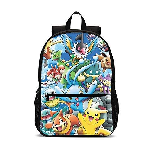 QWEIAS Zaino per La Scuola - Pokémon 3D Zainetti per Bambini Ragazzi Ragazze - Unisex Scuola Borsa per Elementari E Medie Multicolore – Regali della Scuola Elementare M