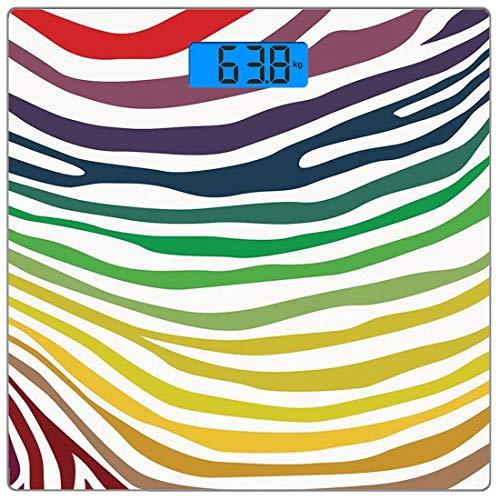 Bilancia digitale di precisione piazza Zebra Print Misurazioni accurate del peso della bilancia pesapersone in vetro ultra sottile,Motivo a strisce colorate zebra in stile plaudente arcobaleno colorat