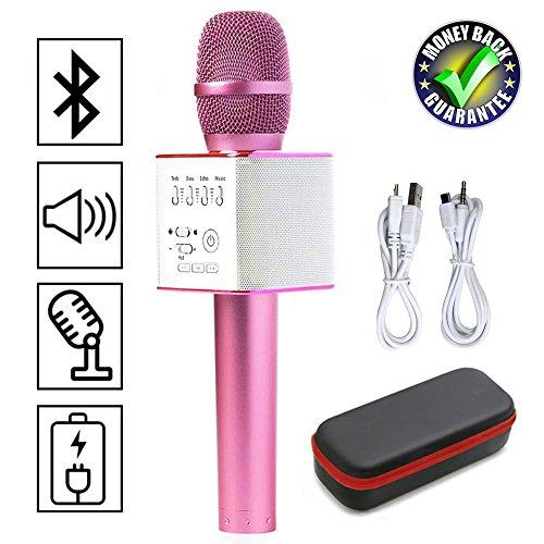 Magisches Karaoke Drahtloses Mikrofon Mit Bluetooth Lautsprecher Unterstützung iOS Apple iPhone iPad Android Smartphone PC Für Home Entertainment Party Bühne KTV Singen (Q9 Rosa)