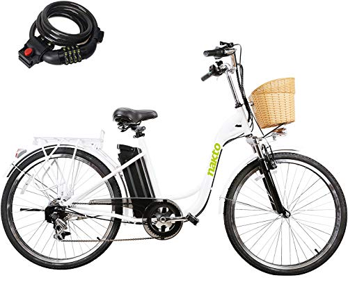 "26"" 250W Cargo Electric Bicycle 6-Gear Speed Sporting Ebike 36V10A Lithium Battery -Class AAA(White)"