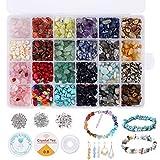Cuentas de Piedra Lava Naturales 24 colores Kit de cuentas de piedras preciosas irregulares de, kit de cristal de piedras preciosas para hacer joyas para hacer joyas, collares, pendientes, pulseras